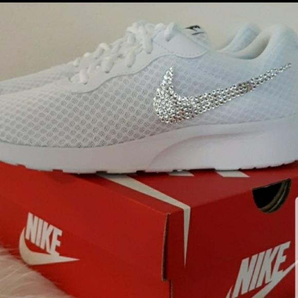 Nike Shoes - Nike Tanjun White Bling Swarovski diamond sparkle